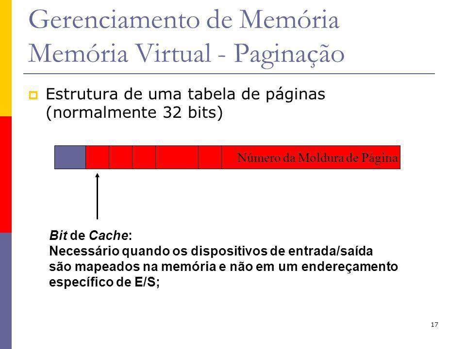 17 Gerenciamento de Memória Memória Virtual - Paginação Bit de Cache: Necessário quando os dispositivos de entrada/saída são mapeados na memória e não em um endereçamento específico de E/S; Número da Moldura de Página Estrutura de uma tabela de páginas (normalmente 32 bits)