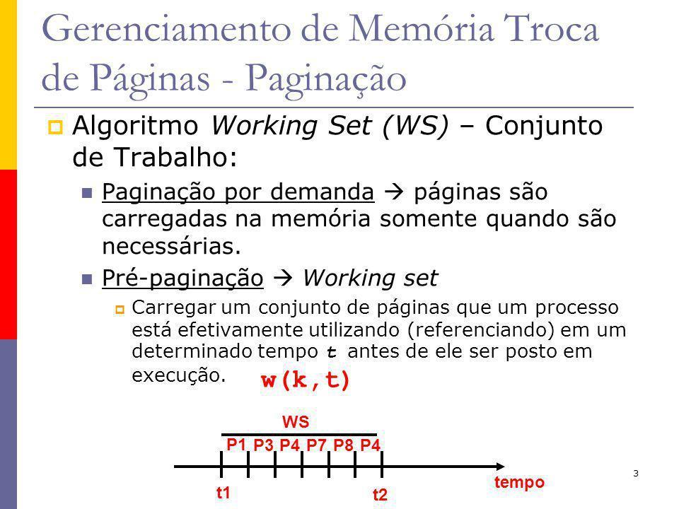 3 Gerenciamento de Memória Troca de Páginas - Paginação Algoritmo Working Set (WS) – Conjunto de Trabalho: Paginação por demanda páginas são carregadas na memória somente quando são necessárias.