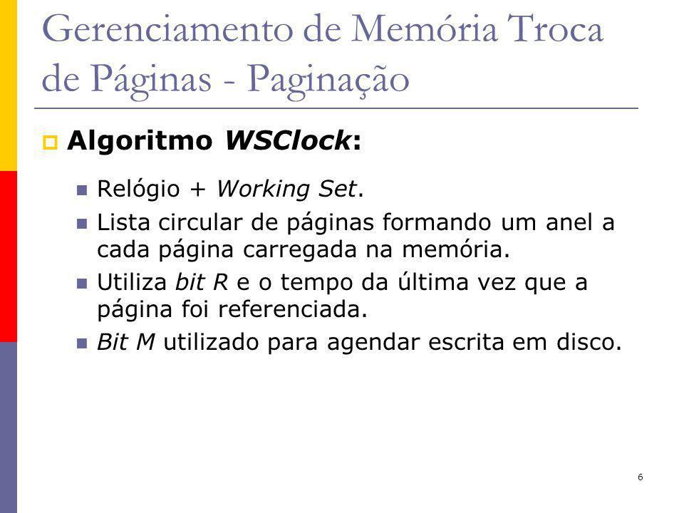 6 Gerenciamento de Memória Troca de Páginas - Paginação Algoritmo WSClock: Relógio + Working Set.