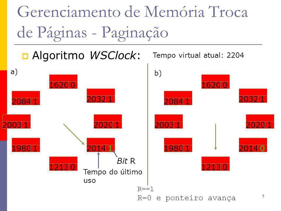 7 Gerenciamento de Memória Troca de Páginas - Paginação Algoritmo WSClock: Tempo virtual atual: 2204 Tempo do último uso 20031 20841 16200 20321 19801 12130 20141 20201 Bit R a) 20841 16200 20321 20031 19801 12130 20140 20201 b) R==1 R=0 e ponteiro avança
