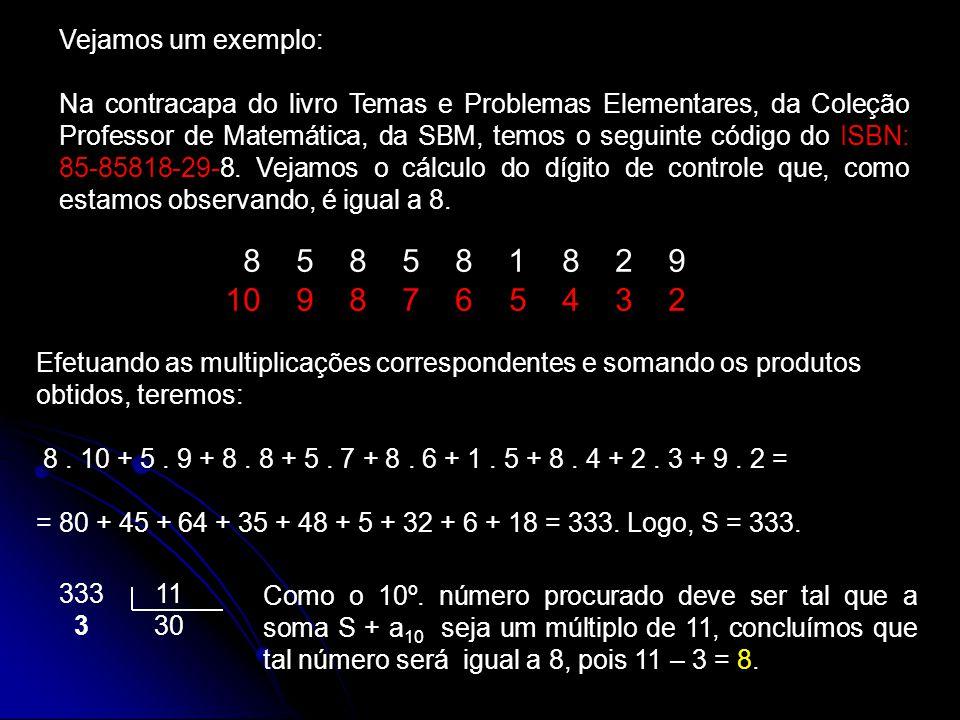 Vejamos um exemplo: Na contracapa do livro Temas e Problemas Elementares, da Coleção Professor de Matemática, da SBM, temos o seguinte código do ISBN: