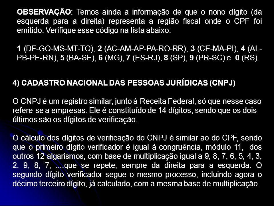 OBSERVAÇÃO: Temos ainda a informação de que o nono dígito (da esquerda para a direita) representa a região fiscal onde o CPF foi emitido. Verifique es