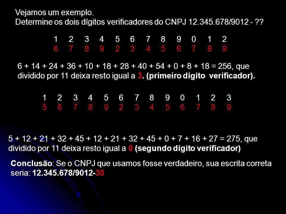 Vejamos um exemplo. Determine os dois dígitos verificadores do CNPJ 12.345.678/9012 - ?? 1 2 3 4 5 6 7 8 9 0 1 2 6 7 8 9 2 3 4 5 6 7 8 9 6 + 14 + 24 +
