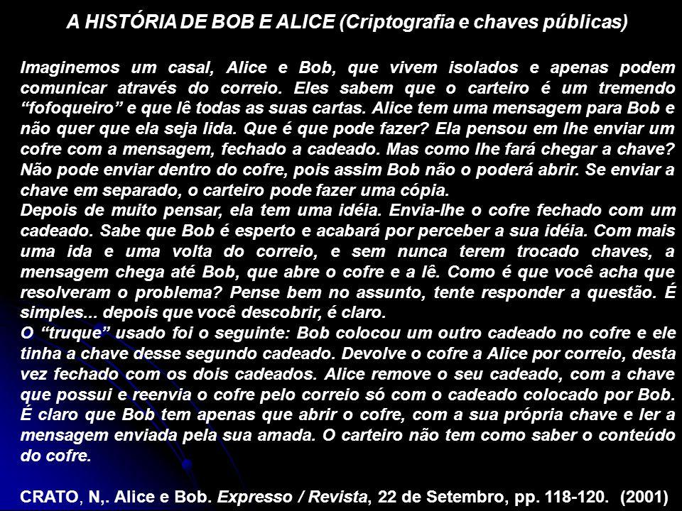 A HISTÓRIA DE BOB E ALICE (Criptografia e chaves públicas) Imaginemos um casal, Alice e Bob, que vivem isolados e apenas podem comunicar através do co