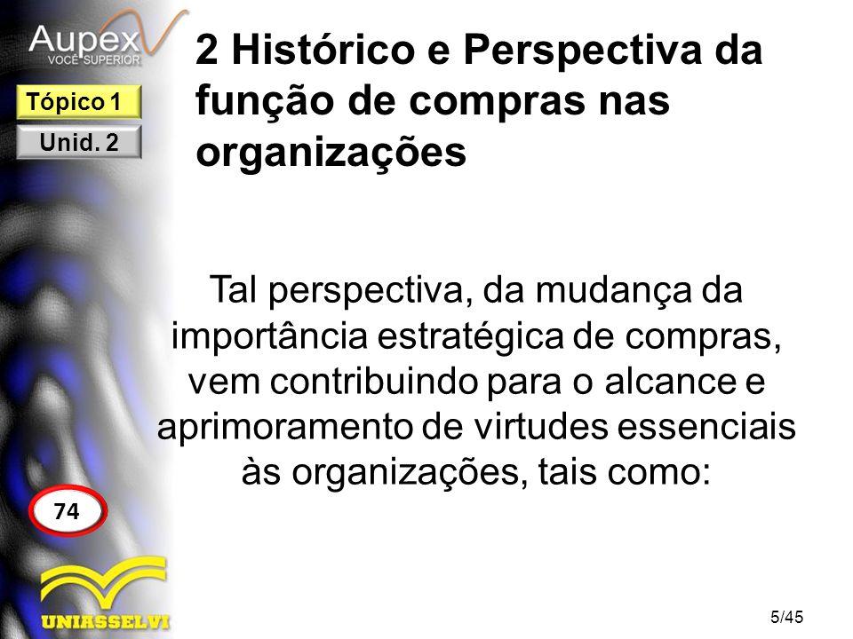 2 Histórico e Perspectiva da função de compras nas organizações Tal perspectiva, da mudança da importância estratégica de compras, vem contribuindo pa