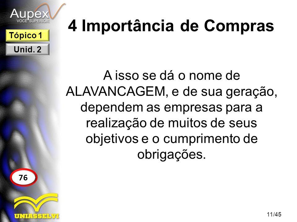 4 Importância de Compras A isso se dá o nome de ALAVANCAGEM, e de sua geração, dependem as empresas para a realização de muitos de seus objetivos e o