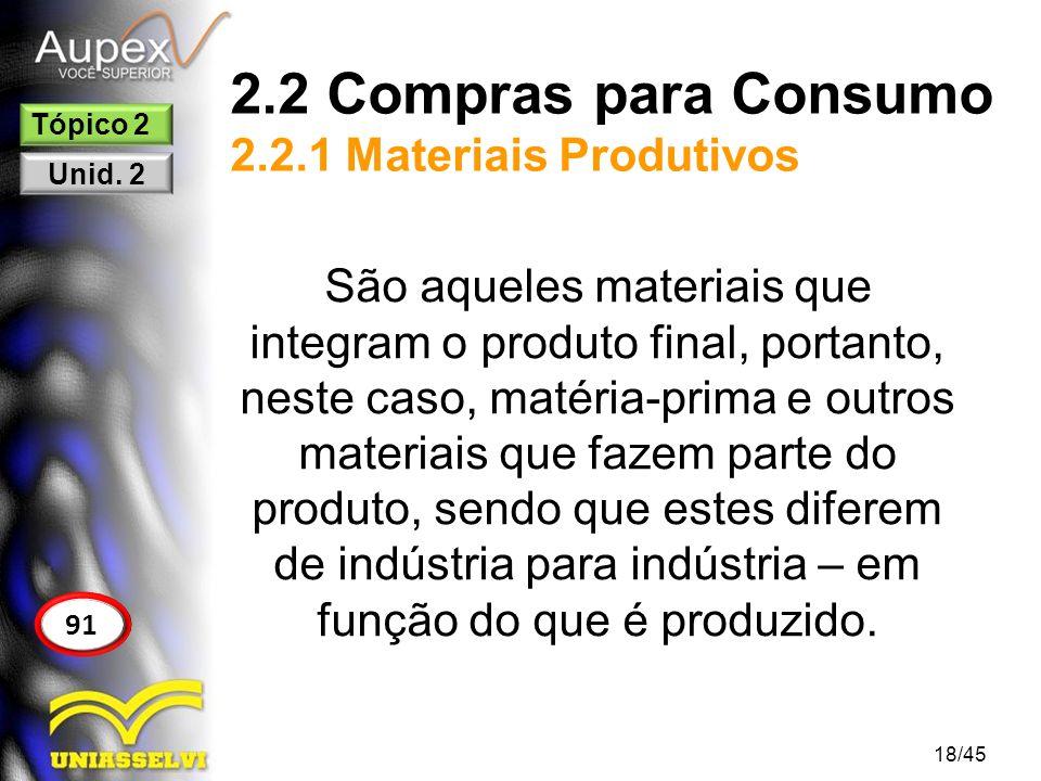 2.2 Compras para Consumo 2.2.1 Materiais Produtivos 18/45 91 Tópico 2 Unid. 2 São aqueles materiais que integram o produto final, portanto, neste caso