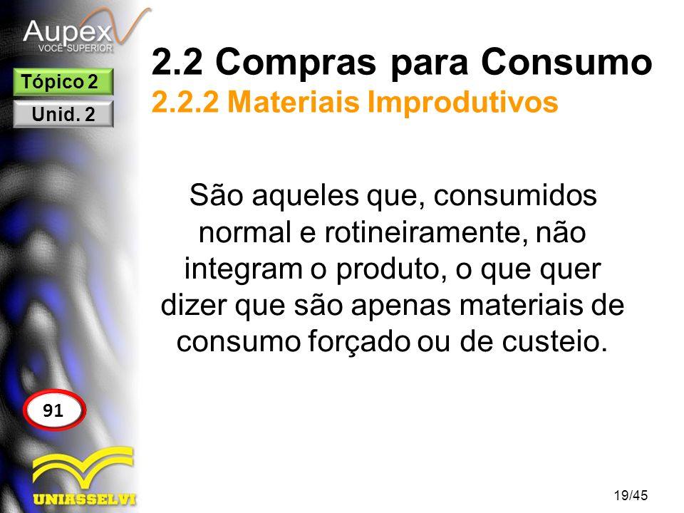 2.2 Compras para Consumo 2.2.2 Materiais Improdutivos 19/45 91 Tópico 2 Unid. 2 São aqueles que, consumidos normal e rotineiramente, não integram o pr