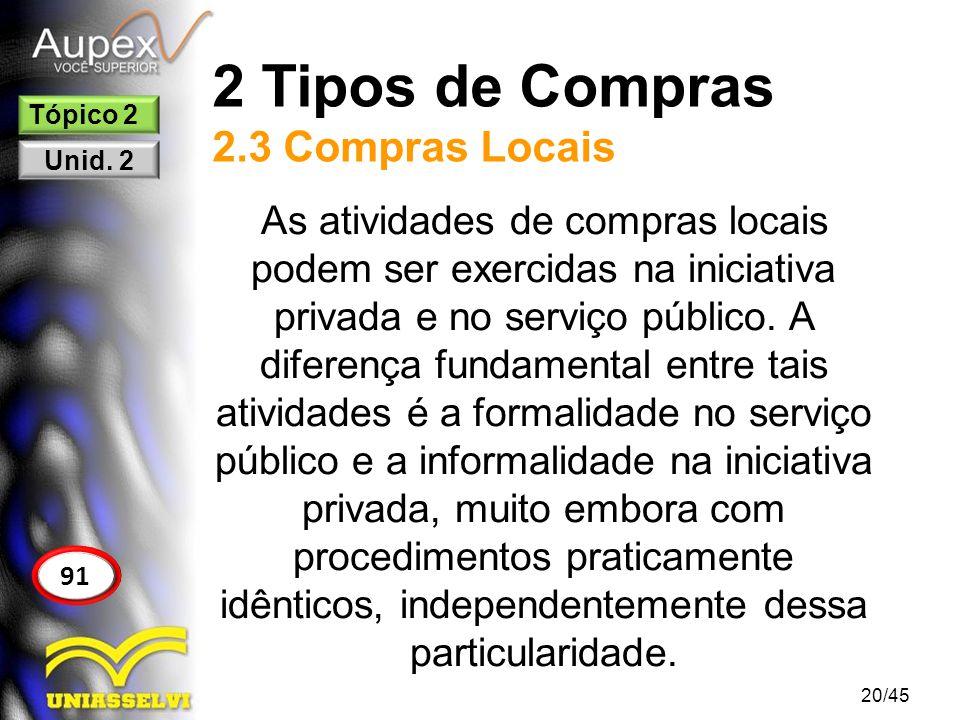 2 Tipos de Compras 2.3 Compras Locais 20/45 91 Tópico 2 Unid. 2 As atividades de compras locais podem ser exercidas na iniciativa privada e no serviço