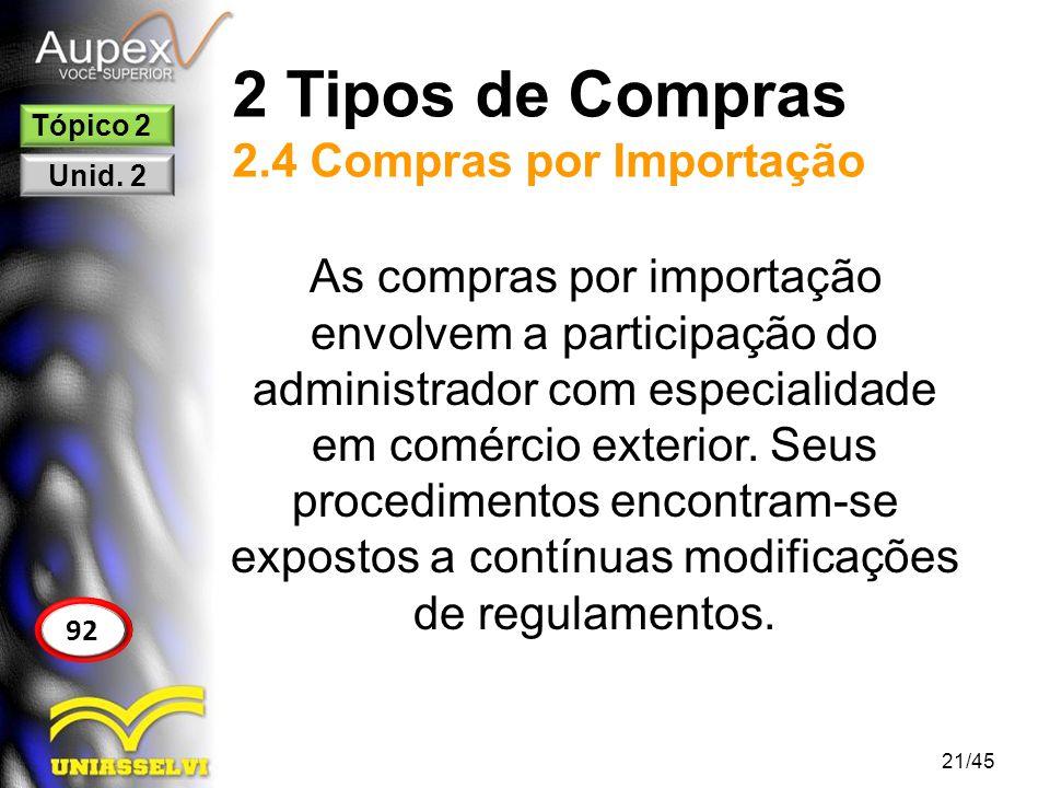 2 Tipos de Compras 2.4 Compras por Importação 21/45 92 Tópico 2 Unid. 2 As compras por importação envolvem a participação do administrador com especia