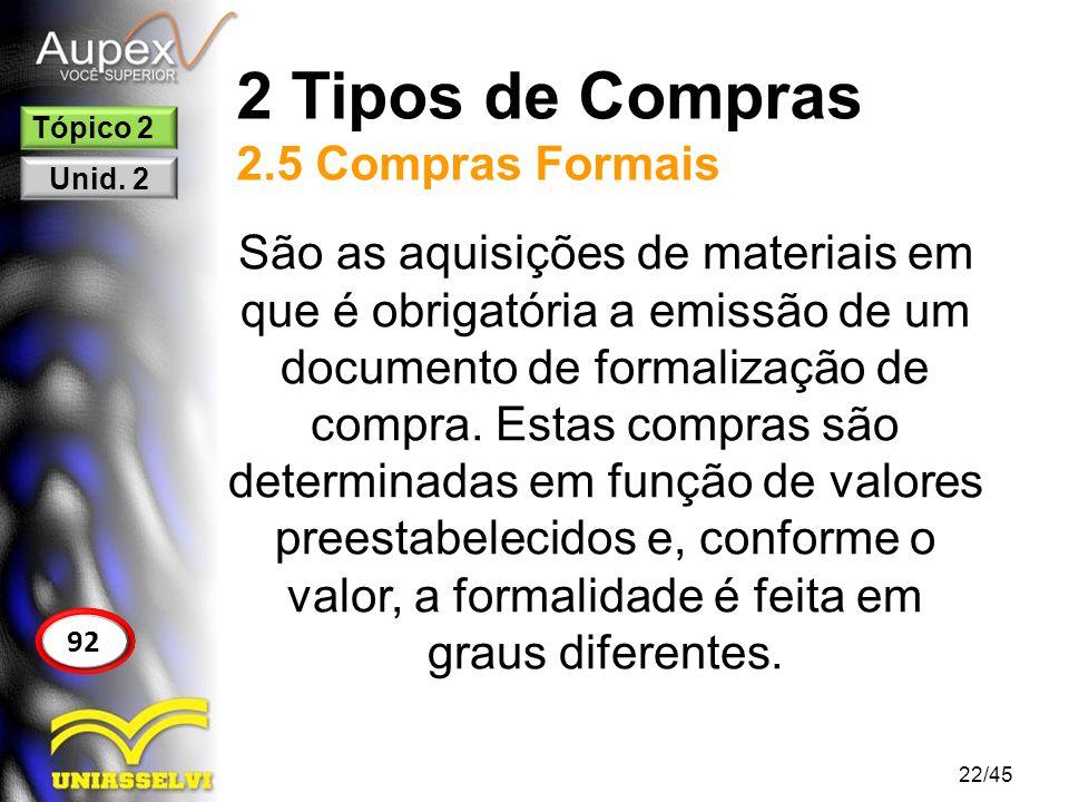 2 Tipos de Compras 2.5 Compras Formais 22/45 92 Tópico 2 Unid. 2 São as aquisições de materiais em que é obrigatória a emissão de um documento de form