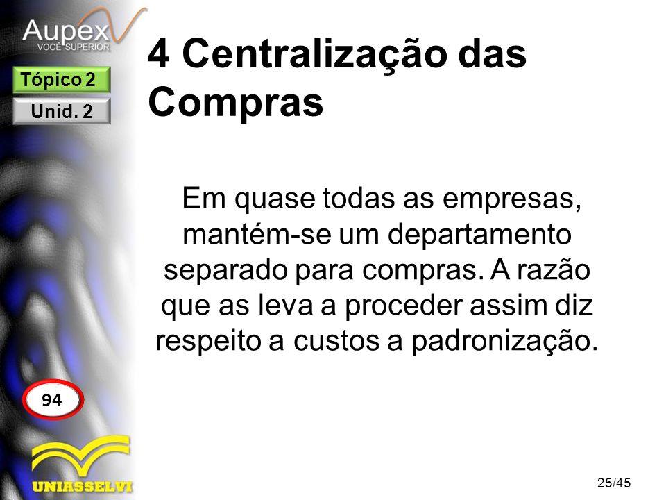 4 Centralização das Compras 25/45 94 Tópico 2 Unid. 2 Em quase todas as empresas, mantém-se um departamento separado para compras. A razão que as leva