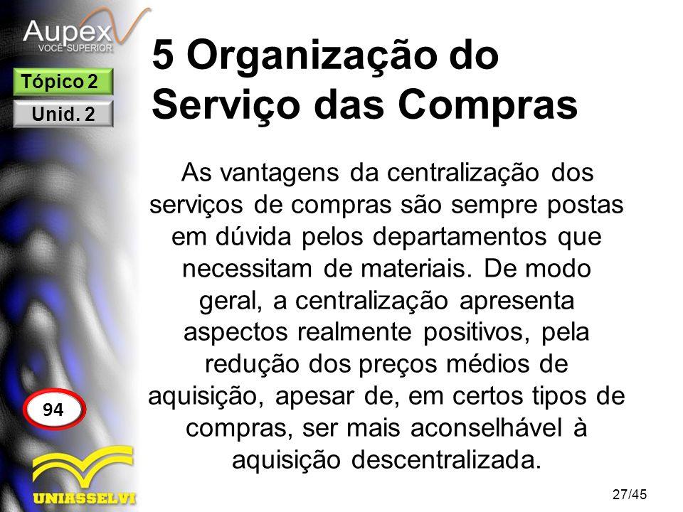 5 Organização do Serviço das Compras 27/45 94 Tópico 2 Unid. 2 As vantagens da centralização dos serviços de compras são sempre postas em dúvida pelos