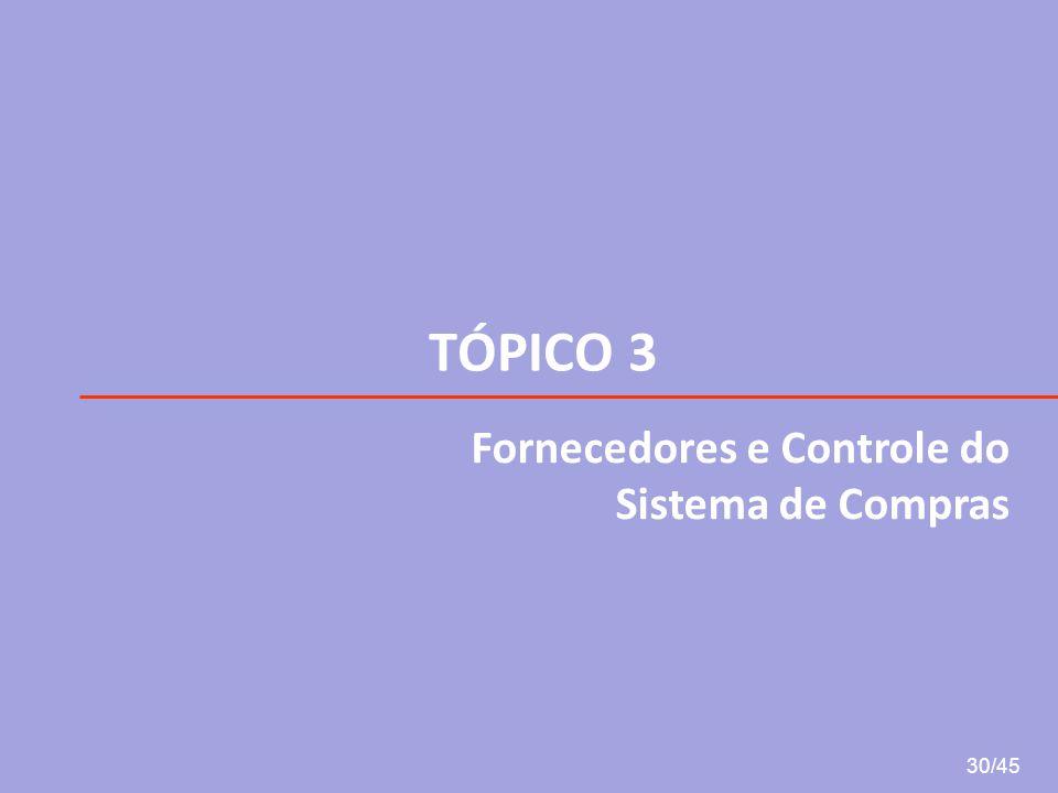 TÓPICO 3 30/45 Fornecedores e Controle do Sistema de Compras
