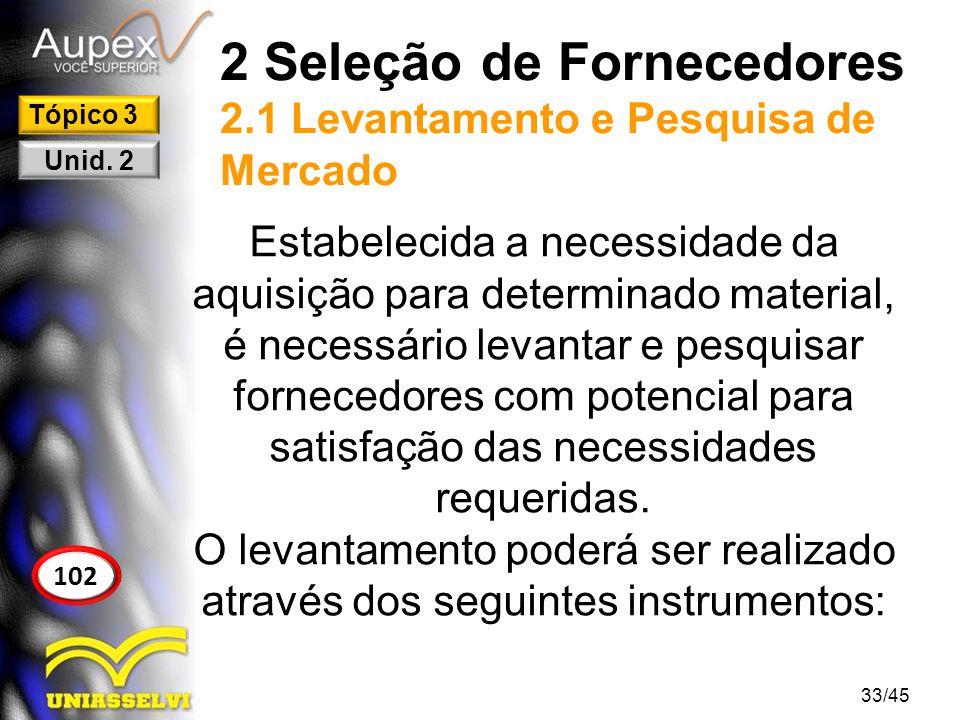 2 Seleção de Fornecedores 2.1 Levantamento e Pesquisa de Mercado Estabelecida a necessidade da aquisição para determinado material, é necessário levan