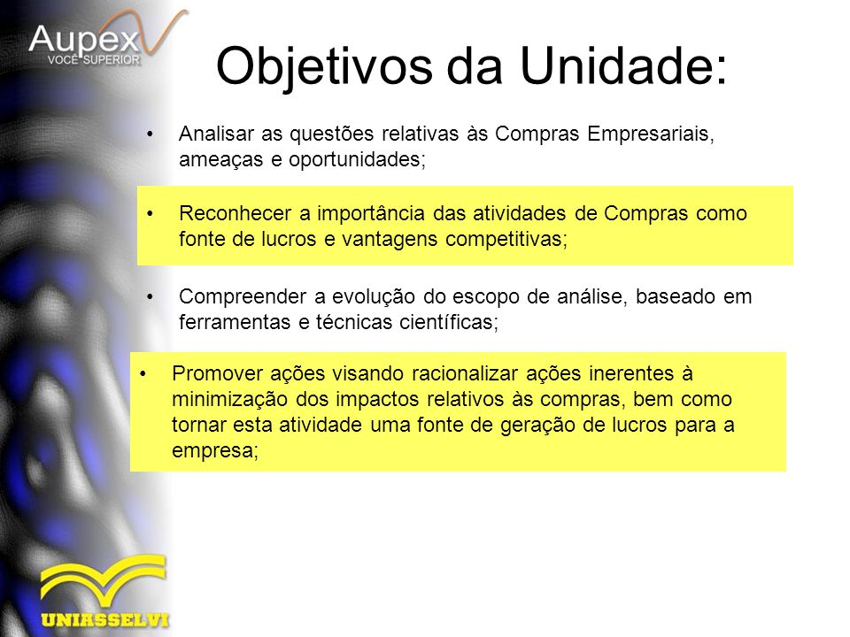 Objetivos da Unidade: Analisar as questões relativas às Compras Empresariais, ameaças e oportunidades; Reconhecer a importância das atividades de Comp