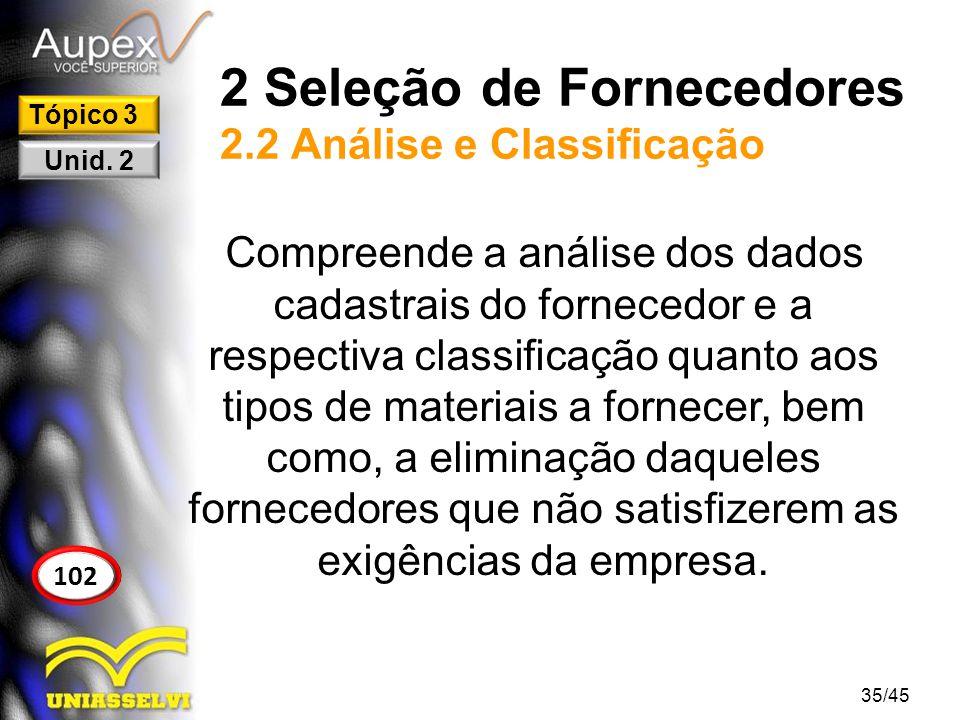2 Seleção de Fornecedores 2.2 Análise e Classificação Compreende a análise dos dados cadastrais do fornecedor e a respectiva classificação quanto aos
