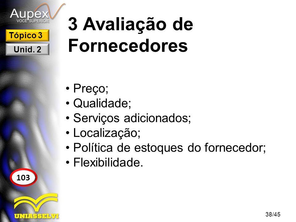 3 Avaliação de Fornecedores Preço; Qualidade; Serviços adicionados; Localização; Política de estoques do fornecedor; Flexibilidade. 38/45 103 Tópico 3