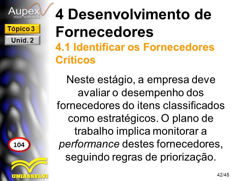 4 Desenvolvimento de Fornecedores 4.1 Identificar os Fornecedores Críticos Neste estágio, a empresa deve avaliar o desempenho dos fornecedores do iten