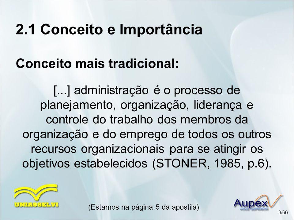 2.1 Conceito e Importância Conceito mais tradicional: [...] administração é o processo de planejamento, organização, liderança e controle do trabalho