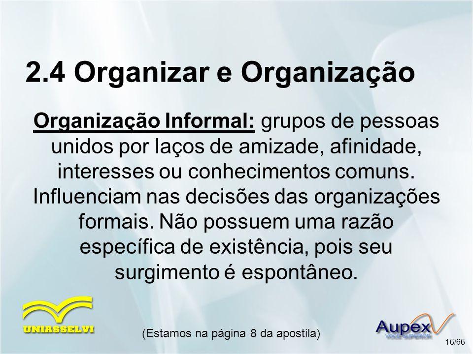 Organização Informal: grupos de pessoas unidos por laços de amizade, afinidade, interesses ou conhecimentos comuns. Influenciam nas decisões das organ