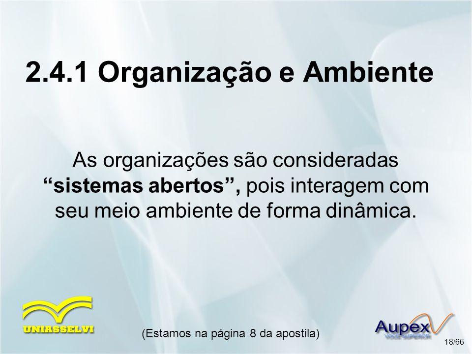 As organizações são consideradas sistemas abertos, pois interagem com seu meio ambiente de forma dinâmica. (Estamos na página 8 da apostila) 18/66 2.4