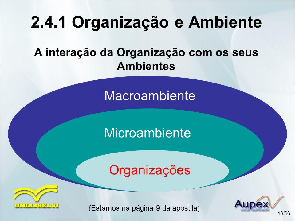 Organizações (Estamos na página 9 da apostila) 19/66 2.4.1 Organização e Ambiente A interação da Organização com os seus Ambientes Microambiente Macro