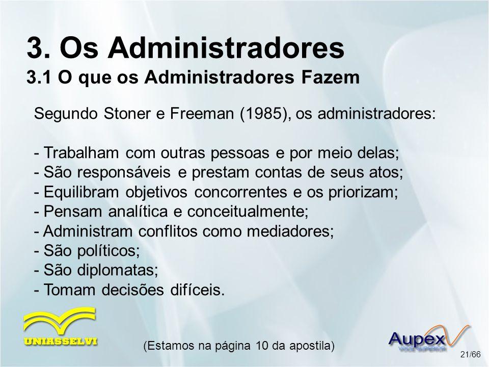 (Estamos na página 10 da apostila) 21/66 3. Os Administradores 3.1 O que os Administradores Fazem Segundo Stoner e Freeman (1985), os administradores: