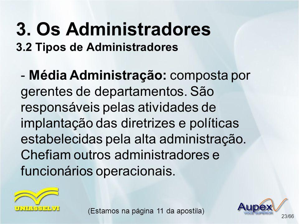 (Estamos na página 11 da apostila) 23/66 3. Os Administradores 3.2 Tipos de Administradores - Média Administração: composta por gerentes de departamen