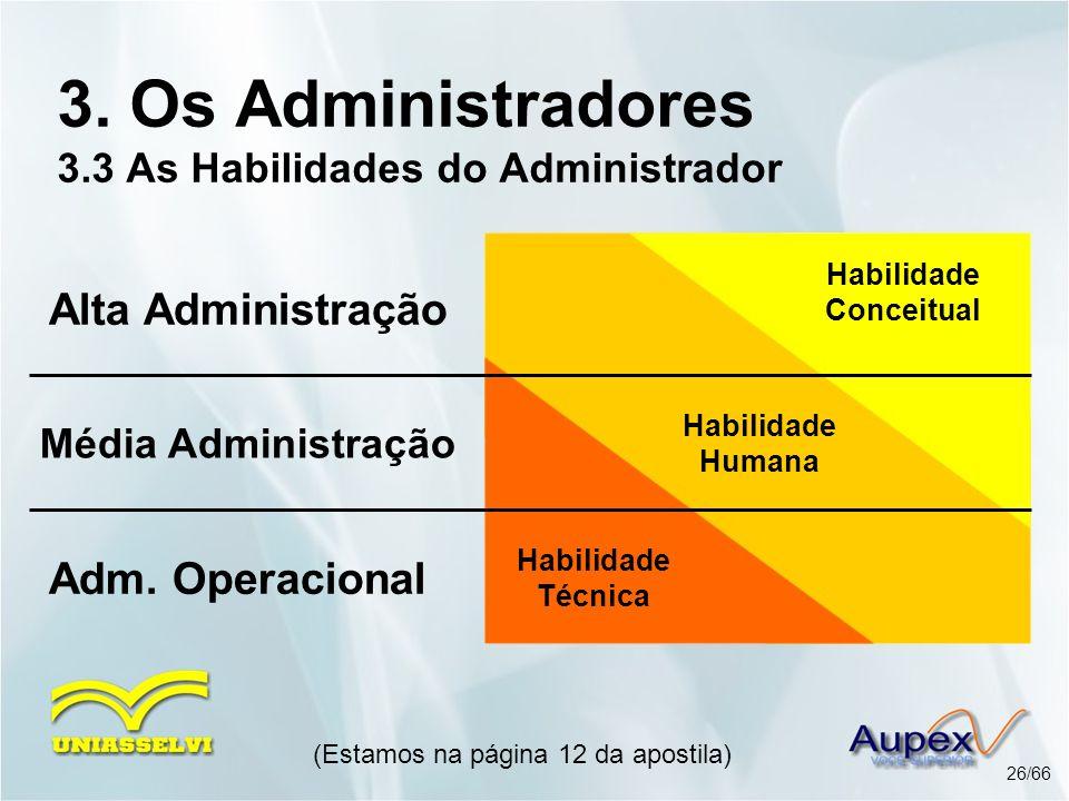 (Estamos na página 12 da apostila) 26/66 3. Os Administradores 3.3 As Habilidades do Administrador Alta Administração Média Administração Adm. Operaci