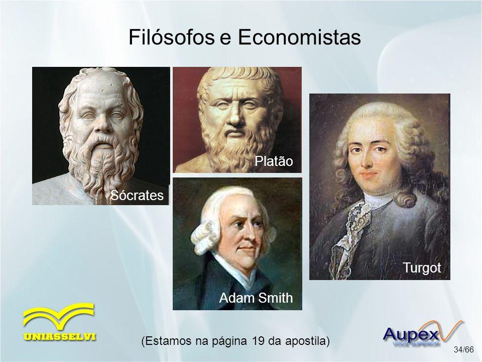(Estamos na página 19 da apostila) 34/66 Filósofos e Economistas Sócrates Platão Adam Smith Turgot