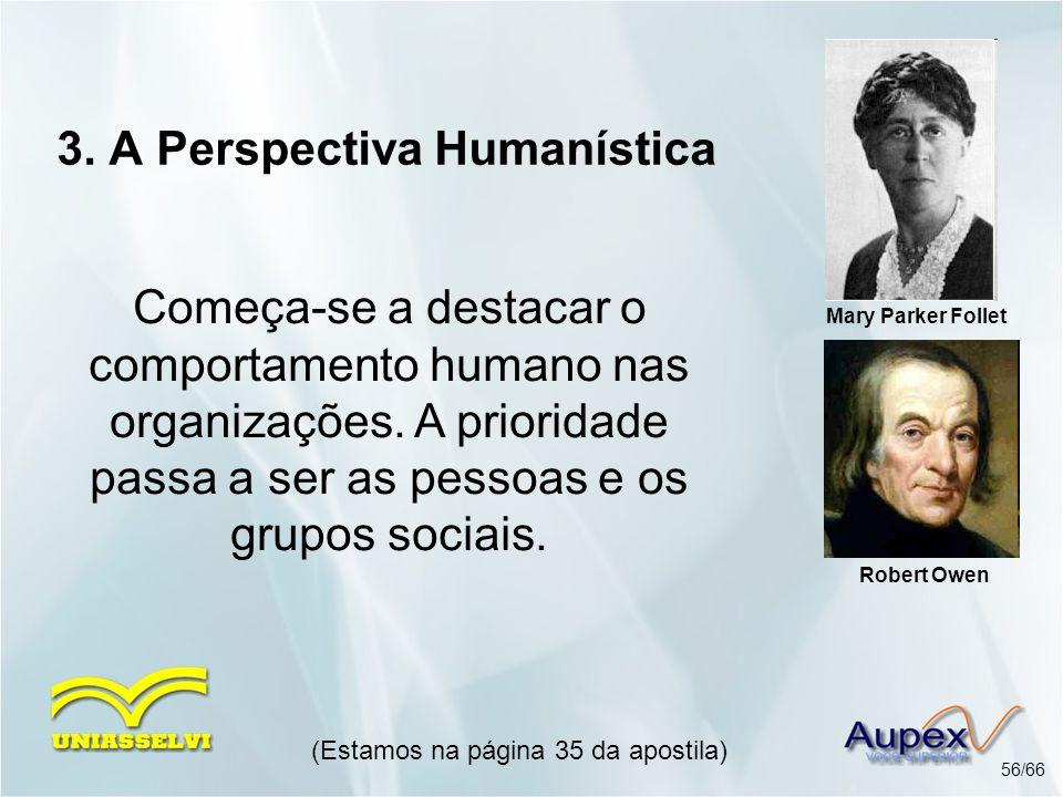 3. A Perspectiva Humanística Começa-se a destacar o comportamento humano nas organizações. A prioridade passa a ser as pessoas e os grupos sociais. (E