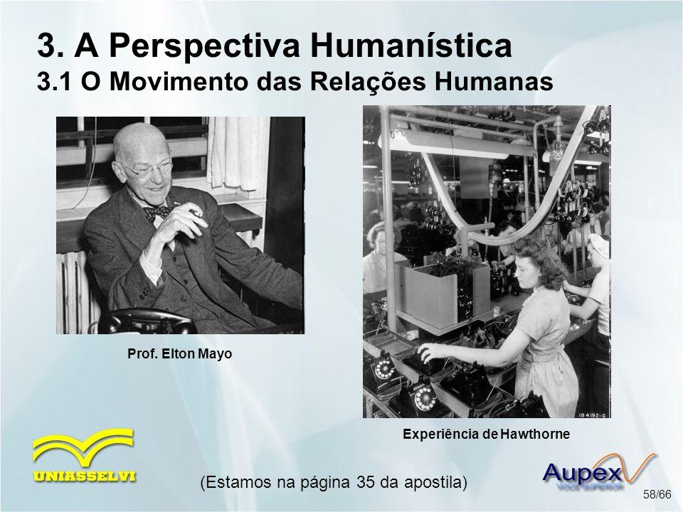 3. A Perspectiva Humanística 3.1 O Movimento das Relações Humanas (Estamos na página 35 da apostila) 58/66 Prof. Elton Mayo Experiência de Hawthorne