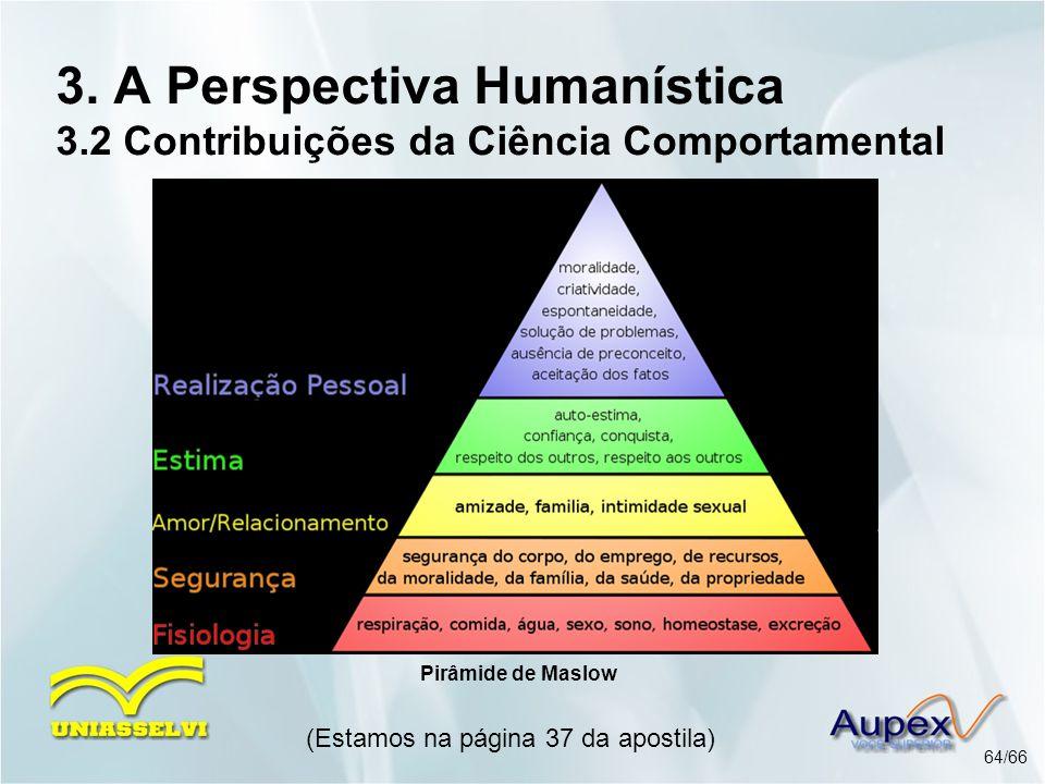 3. A Perspectiva Humanística 3.2 Contribuições da Ciência Comportamental (Estamos na página 37 da apostila) 64/66 Pirâmide de Maslow