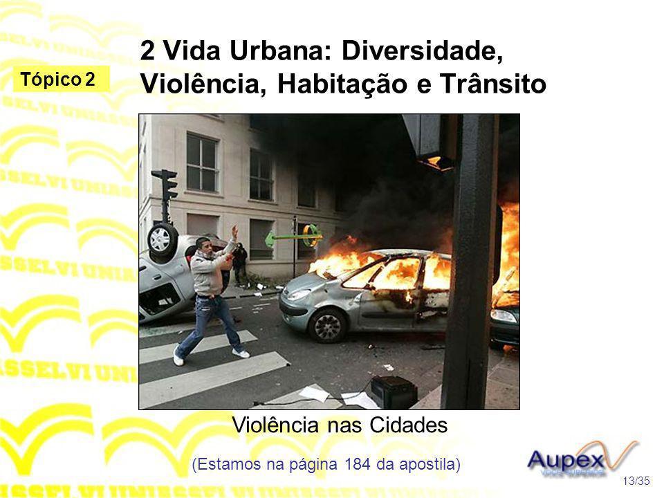 2 Vida Urbana: Diversidade, Violência, Habitação e Trânsito Violência nas Cidades (Estamos na página 184 da apostila) 13/35 Tópico 2