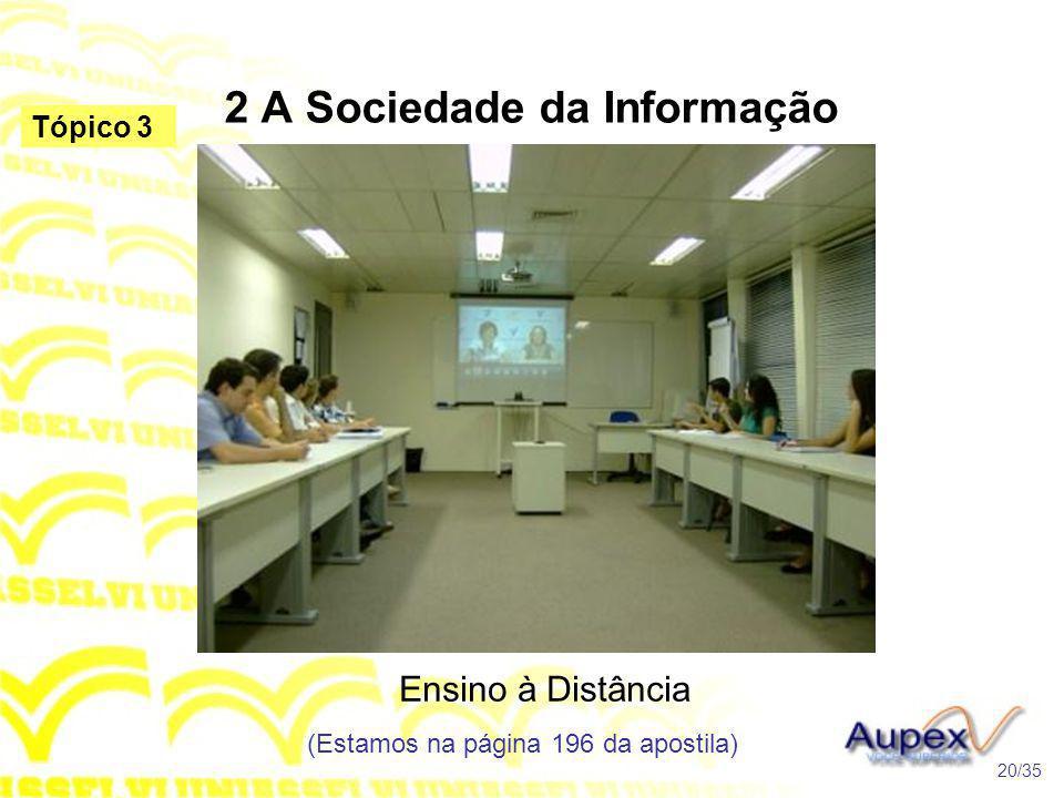 2 A Sociedade da Informação Ensino à Distância (Estamos na página 196 da apostila) 20/35 Tópico 3