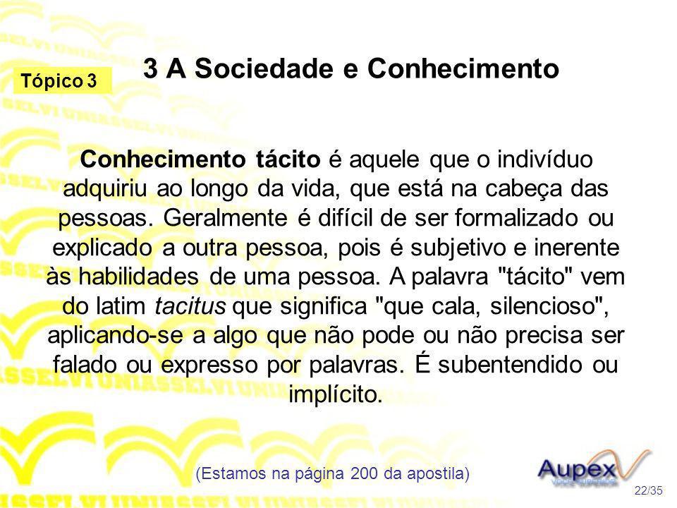 3 A Sociedade e Conhecimento Conhecimento tácito é aquele que o indivíduo adquiriu ao longo da vida, que está na cabeça das pessoas. Geralmente é difí