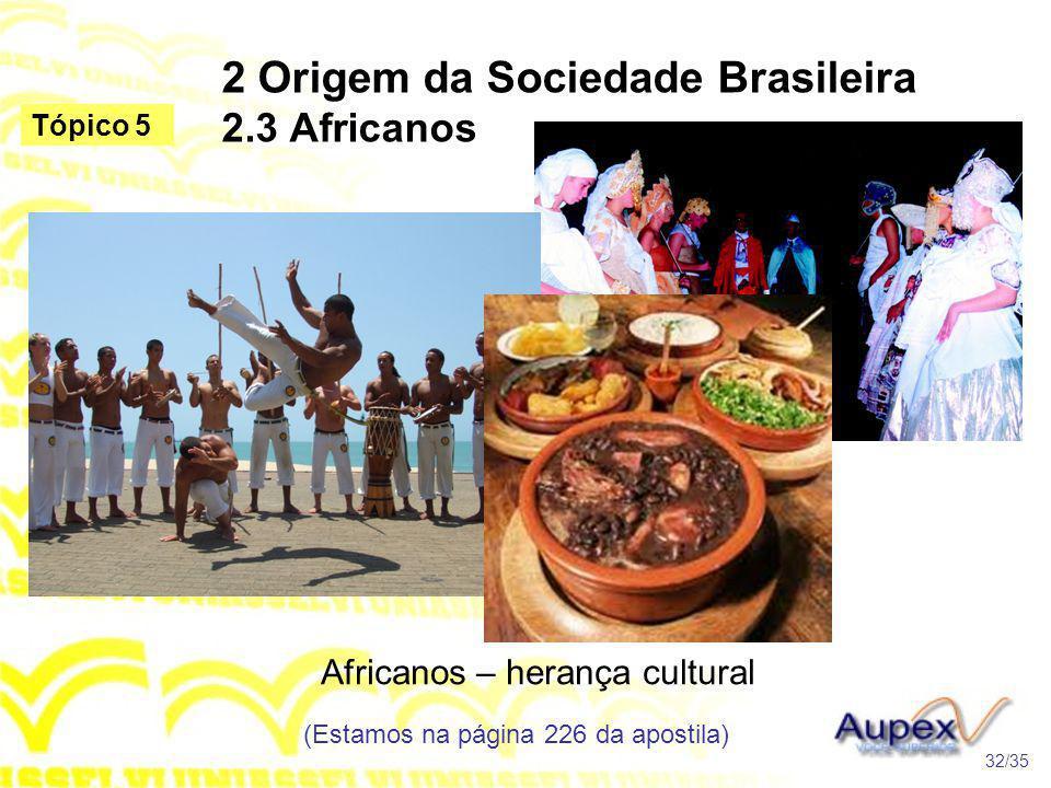 2 Origem da Sociedade Brasileira 2.3 Africanos Africanos – herança cultural (Estamos na página 226 da apostila) 32/35 Tópico 5