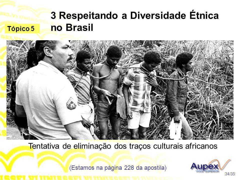 3 Respeitando a Diversidade Étnica no Brasil Tentativa de eliminação dos traços culturais africanos (Estamos na página 228 da apostila) 34/35 Tópico 5