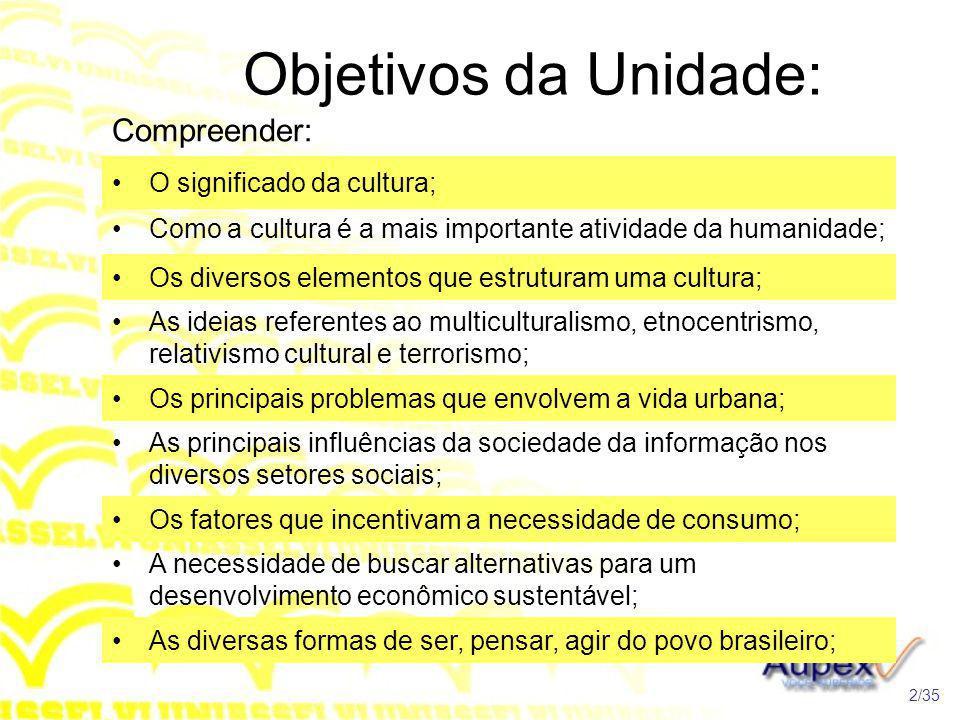 Objetivos da Unidade: Compreender: O significado da cultura; Como a cultura é a mais importante atividade da humanidade; Os diversos elementos que est