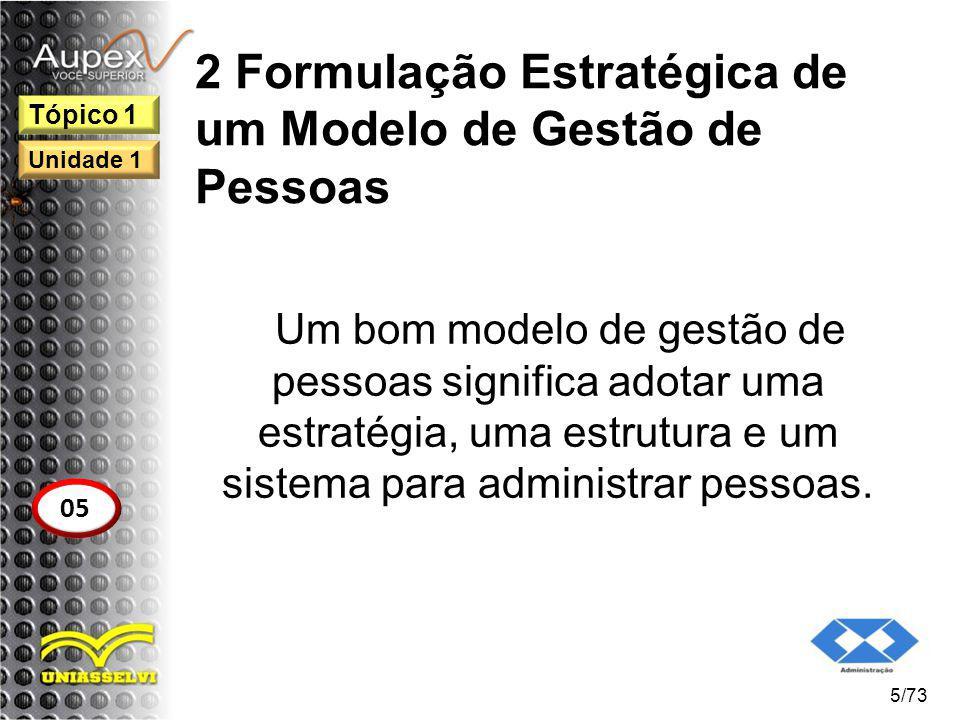2 Formulação Estratégica de um Modelo de Gestão de Pessoas Um bom modelo de gestão de pessoas significa adotar uma estratégia, uma estrutura e um sist