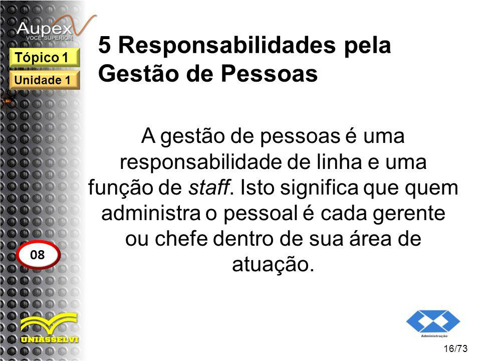 5 Responsabilidades pela Gestão de Pessoas A gestão de pessoas é uma responsabilidade de linha e uma função de staff. Isto significa que quem administ