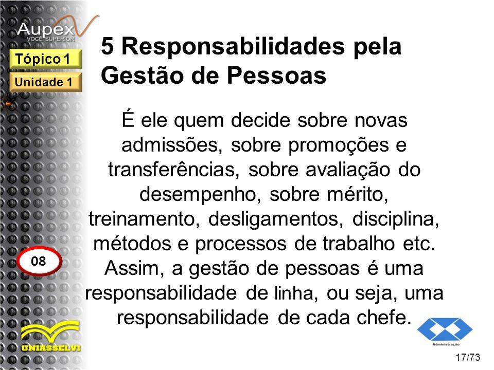 5 Responsabilidades pela Gestão de Pessoas É ele quem decide sobre novas admissões, sobre promoções e transferências, sobre avaliação do desempenho, s
