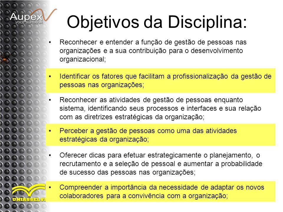Objetivos da Disciplina: Reconhecer e entender a função de gestão de pessoas nas organizações e a sua contribuição para o desenvolvimento organizacion