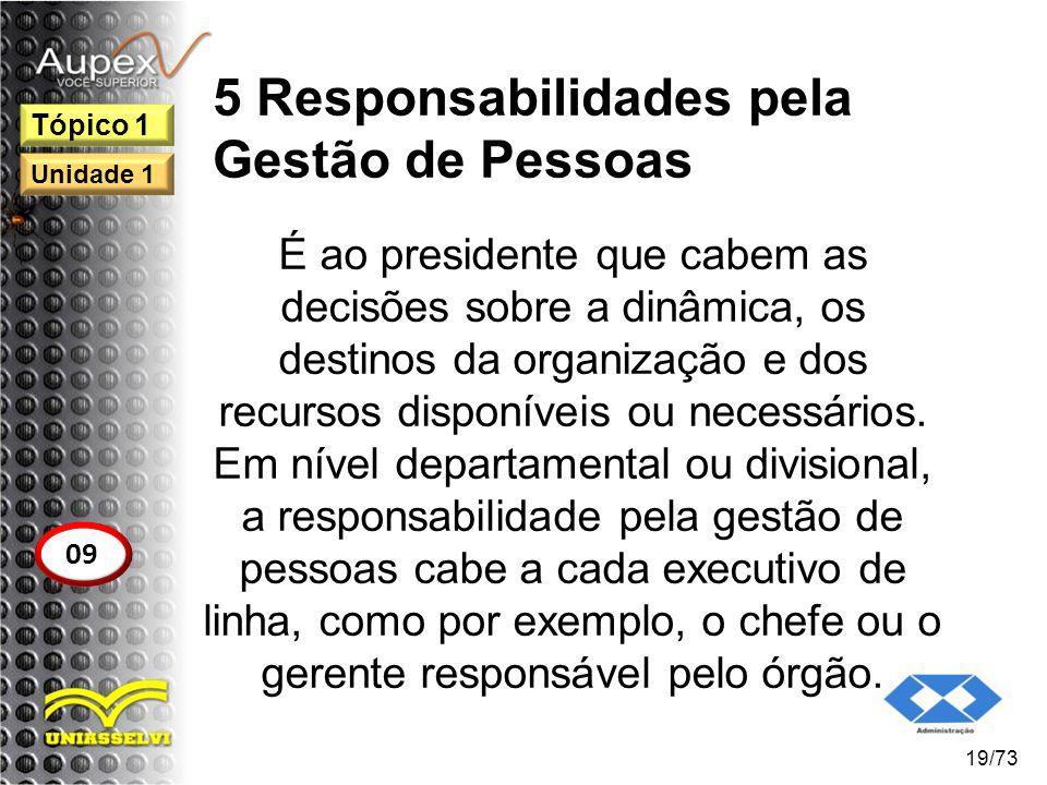 5 Responsabilidades pela Gestão de Pessoas É ao presidente que cabem as decisões sobre a dinâmica, os destinos da organização e dos recursos disponíve