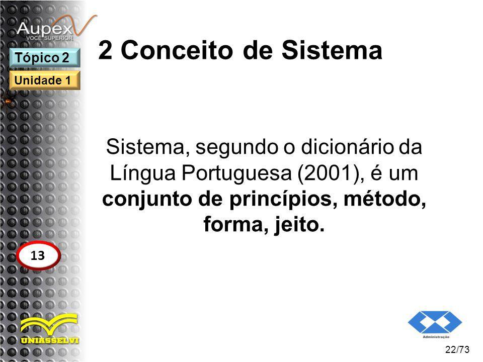 2 Conceito de Sistema Sistema, segundo o dicionário da Língua Portuguesa (2001), é um conjunto de princípios, método, forma, jeito. 22/73 Tópico 2 13