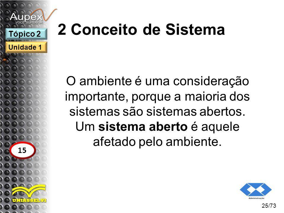 2 Conceito de Sistema O ambiente é uma consideração importante, porque a maioria dos sistemas são sistemas abertos. Um sistema aberto é aquele afetado