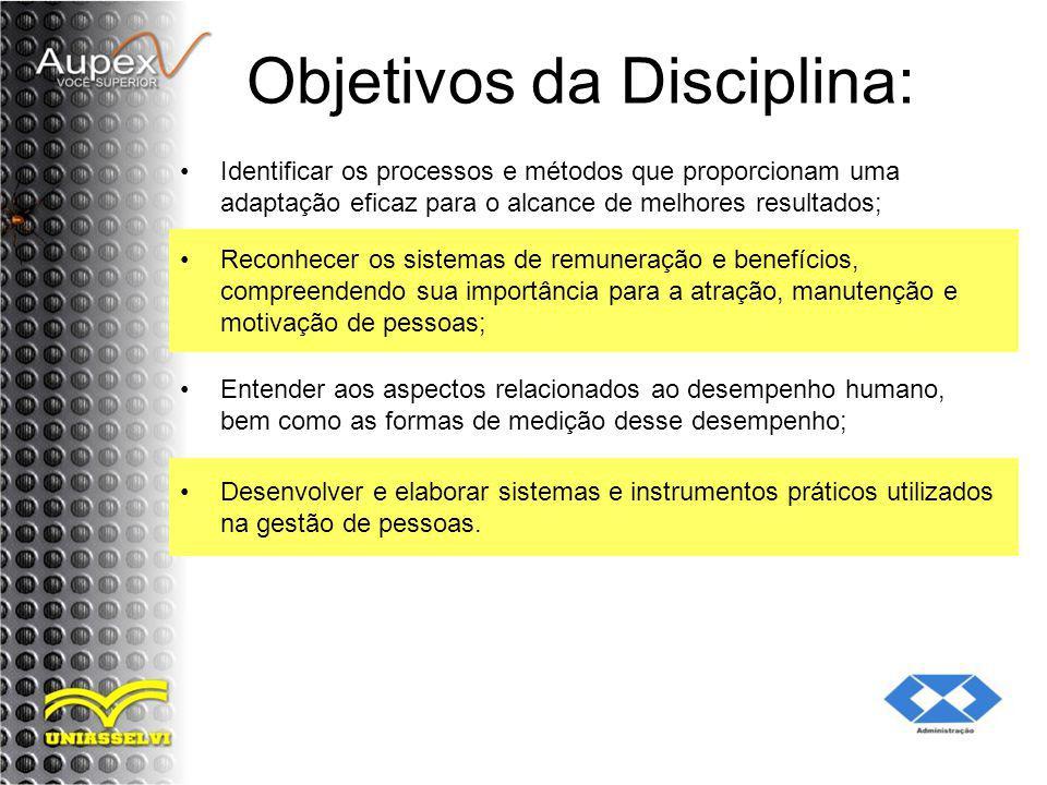 Objetivos da Disciplina: Identificar os processos e métodos que proporcionam uma adaptação eficaz para o alcance de melhores resultados; Reconhecer os