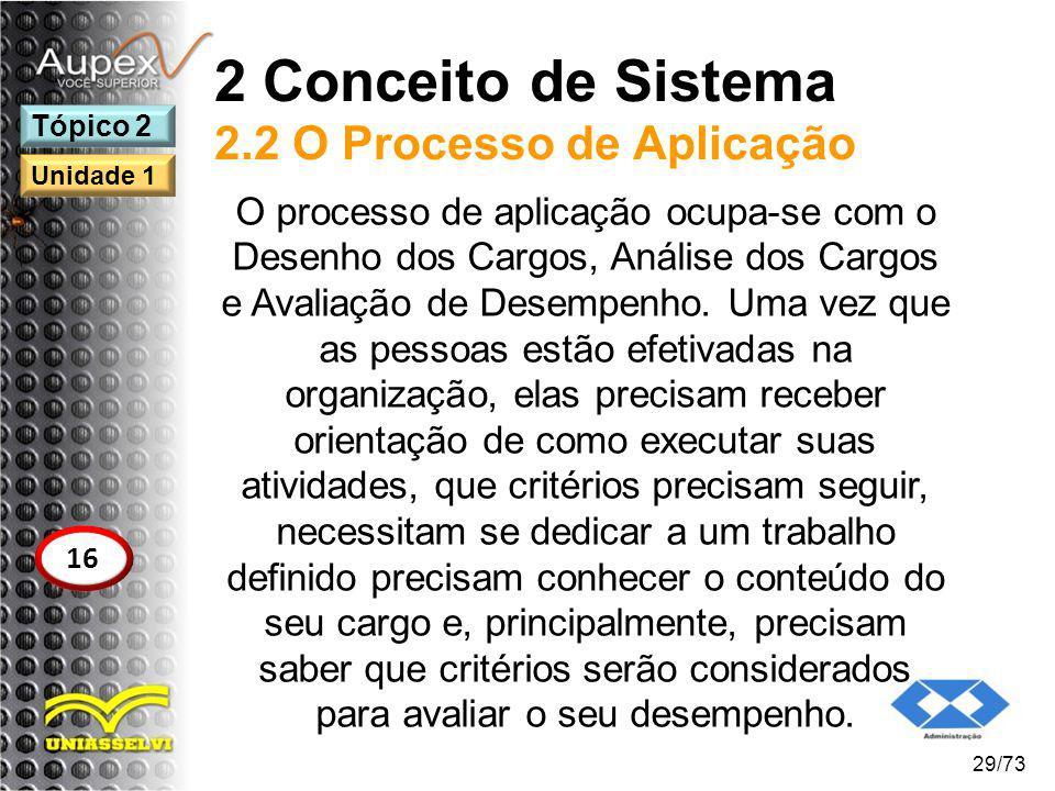 2 Conceito de Sistema 2.2 O Processo de Aplicação O processo de aplicação ocupa-se com o Desenho dos Cargos, Análise dos Cargos e Avaliação de Desempe