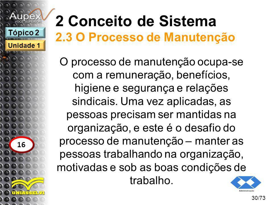 2 Conceito de Sistema 2.3 O Processo de Manutenção O processo de manutenção ocupa-se com a remuneração, benefícios, higiene e segurança e relações sin